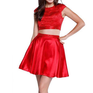 NWT Red Bejeweled scoop Neck 2-p Dress size S & M